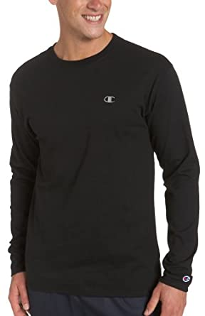 Champion Men's Long Sleeve Tee, Black, Large