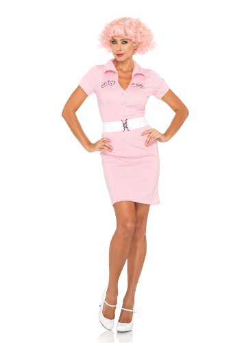 [Leg Avenue Grease Women's 2 Piece Beauty School Drop Out Button Front Dress And Belt, Pink,] (Frenchy Pink Ladies Costume)