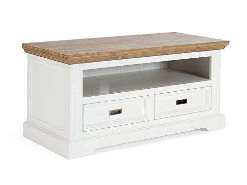 Meuble TV COCONA avec 2 tiroirs en acacia blanc