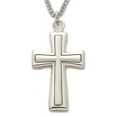 Sterling Silver Cross Necklace  Satin Inner Cross