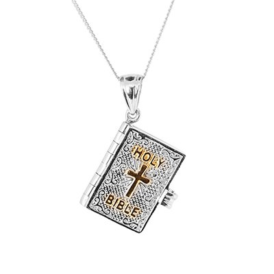 J Francis J Francis Holy Bible Pendant With Chain in Platinum & Gold Plated in S.S.