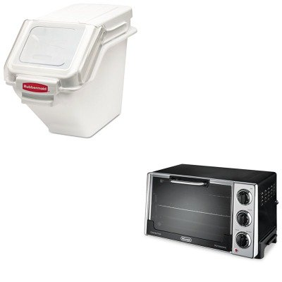 Kitdloro2058Rcp9G57Whi - Value Kit - White 100 Cup Safety Storage Bin With 2 Cup Scoop (Rcp9G57Whi) And Delonghi Convection Oven W/Rotisserie (Dloro2058)