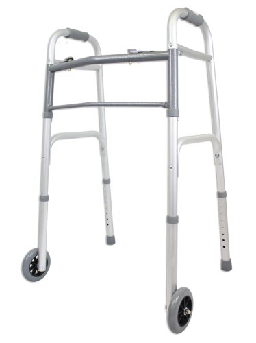 Ez2care Deluxe Two Botton Folding Walker with 5-Inch Wheels, Anodized Silver
