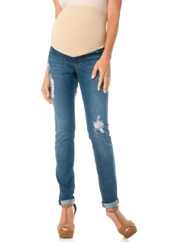 Motherhood Maternity: Celebrity Pink Jeans Secret Fit Belly(r) Destructed Skinny Leg Maternity Crop Jeans