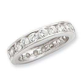 Sterling Silver CZ Eternity Band Size 8