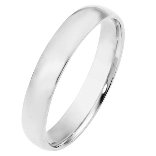 10K White Gold, Light Half Round Wedding Band 4MM (sz 9.5)