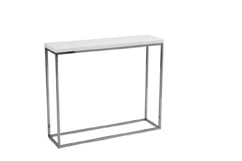 Cheap Euro Style Teresa Console Table, White Lacquer/Chrome (09803WHT)