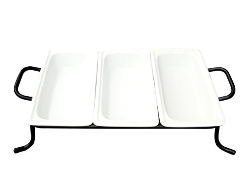 Cac China Bf-G313 Food Pans Three Bright White Porcelain 1/3 Gn Pans On Rack, 12-3/4 By 6-7/8 By 2-1/2-Inch, 4-Pack