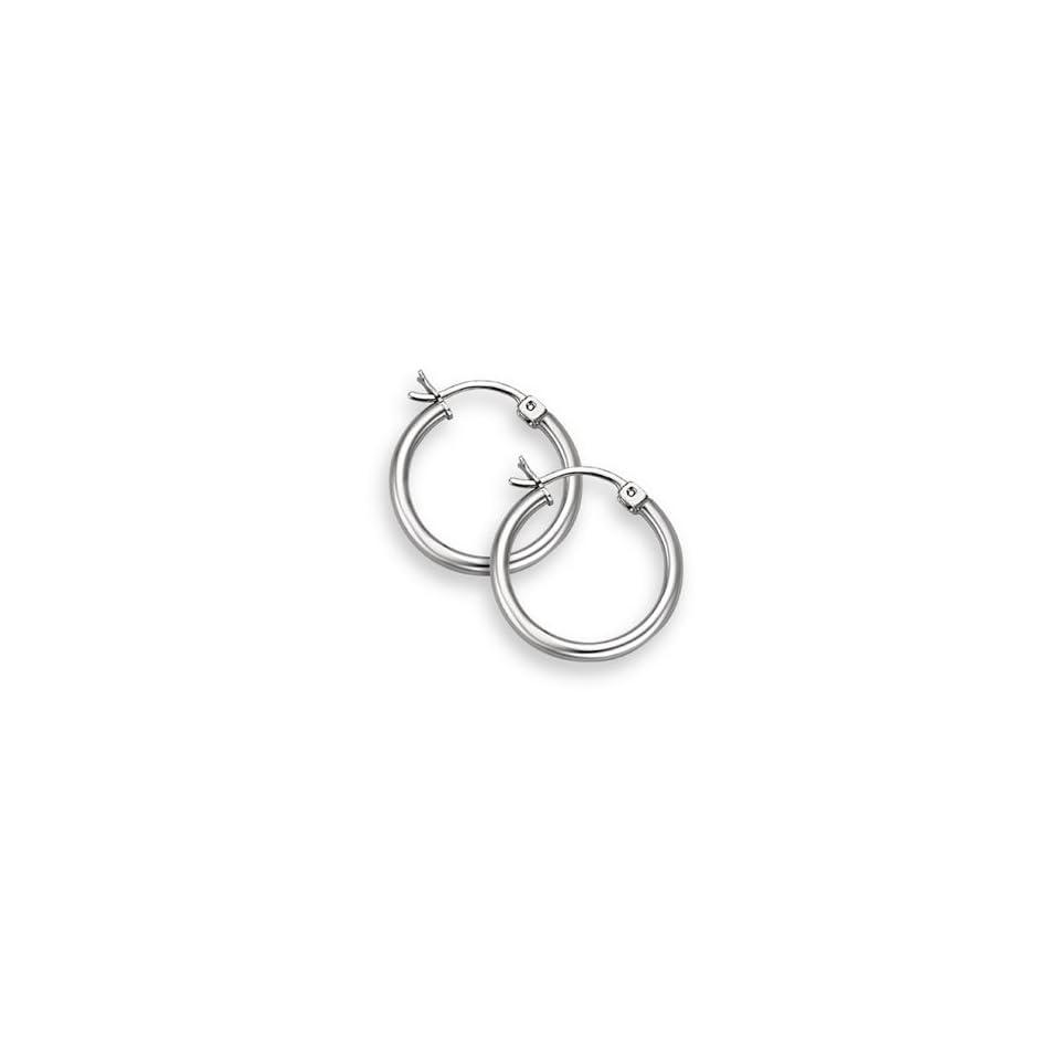 14K White Gold Hoop Earrings   9/16 diameter (2mm