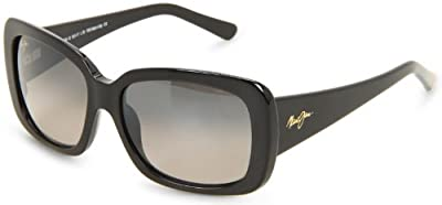 Maui Jim Lani GS239-02 Polarized Square Sunglasses,Gloss Black Frame/Neutral Grey Lens,One Size