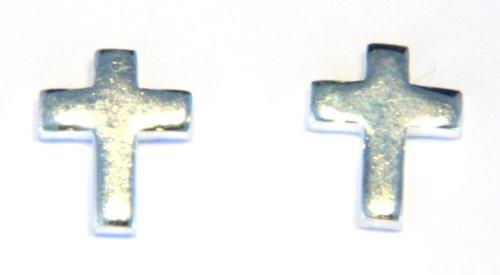 Plain Cross Stud Earring - Genuine 925 Sterling Silver