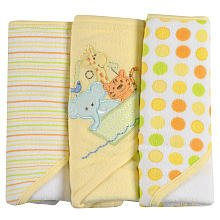Spasilk 3 Count Soft Terry Hooded Towel Set, Yellow Ark