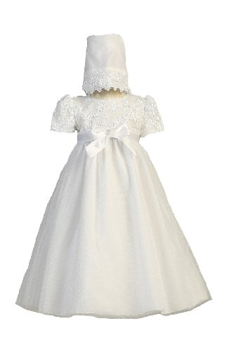 Long White Embroidered Satin Ribbon Tulle Bodice with Tulle Skirt Baby Girl Christening Baptism Special Occasion Newborn Dress Gown with Matching Hat - L (12-18 Month, 18-22 lbs)