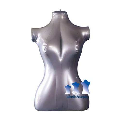 Inflatable Mannequin, Female Torso, Mid Size Silver