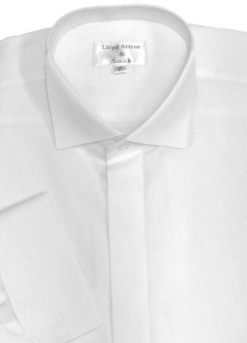 Mens Formal White Victoria Collar Dress Shirt with Double Cuff 16