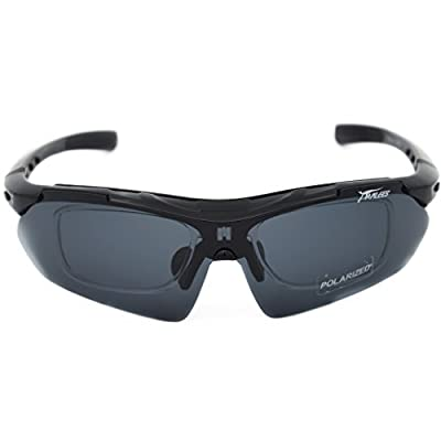 Supertrip Polarized UV400 Protection Glasses, Sunglasses with 5 Interchangeable Lenses Myopia Eyes,for Men Women Cycling Running Glasses Ski Golf Riding Driving Fishing Hiking and All Outdoor Sports