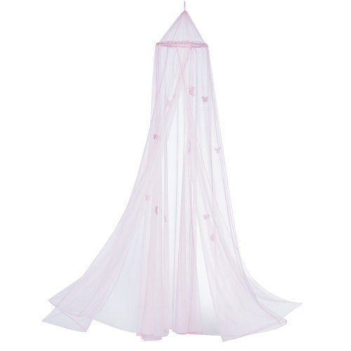 Gifts & Decor Butterfly Motif Childrens Girls Pink Hanging Bed Canopy
