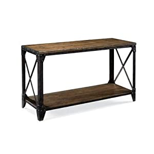 Magnussen T1755 Pinebrook Distressed Natural Pine Wood Rectangular Sofa Table