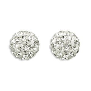 Clous D'oreilles-unisex- Avec plus des 70 Swarovski cristals en blanc -Argent 925/1000-poste en Argent et papillion- 8mm taille