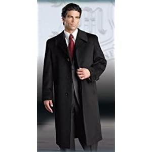 Men's Luxury Cashmere Hidden Button three Quarter Topcoat~Overcoat notched lapels