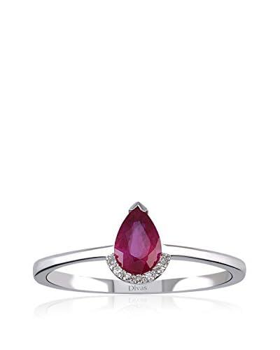 Divas Diamond Anello Diamond Drop Ruby Gold [Oro Bianco]