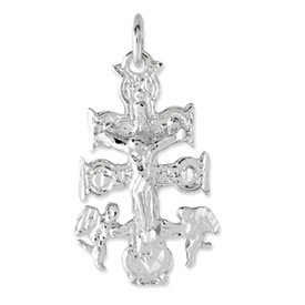 Sterling Silver Large Cara Vaca Crucifix Pendant with 18 Inch Stainless Steel Chain