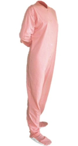Big Feet Pjs Pink Jersey Knit Adult Footed Pajamas No Drop Seat (M) front-604109