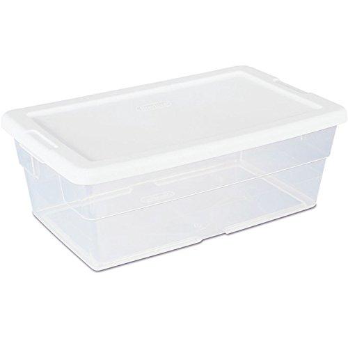 Sterilite 16428012 6 Quart Storage Tote Shoe Box Container Clear Closet Tub (Tub With Lid compare prices)
