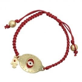 Braided Gold Plated Evil Eye Red Bracelet with Hamsa Charm