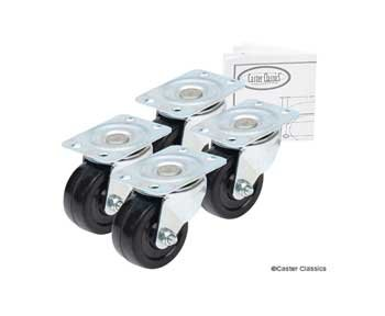Caster Classics® 2-inch Low Profile HD Rubber Wheel Plate Casters – 4-Pack