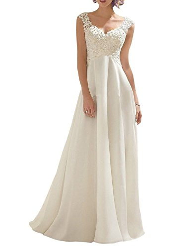 AbaoWedding Women's Summer Style Sleeveless Lace Wedding Dress Long White Tube Dress (size6)