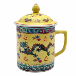Asian Porcelain Mug for Tea or Coffee with Lid - Yellow and Green Dragon Design