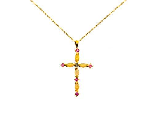 9ct Yellow Gold Opal,Pink Tourmaline and Diamond Cross Pendant On 46cm Chain. Diamond 0.006ct
