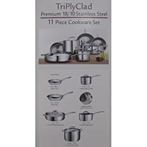 Tramontina Premium Quality 18/10 Stainless Steel 11 Piece Tri Ply Clad Cookware Set