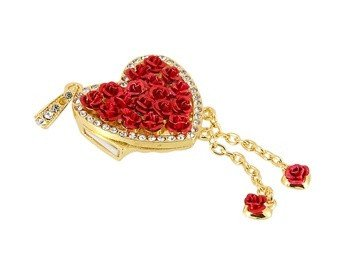 Crystal Rose Heart Pendant 4GB USB Flash memory - Red by ChannelGoods