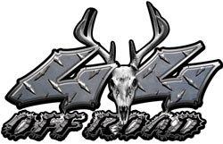 Deer Skull Wicked Series 4x4 Off Road Diamond Plate Decals - 3