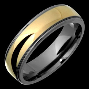 Itali - size 8.00 Classic Titanium Band with 14kt. Yellow Gold Center