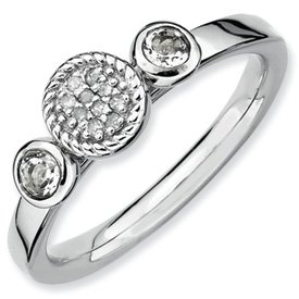 Genuine IceCarats Designer Jewelry Gift Size 5.00 Sterling Silver Stackable Expressions Db Round White Topaz & Dia. Ring In Sterling Silver.