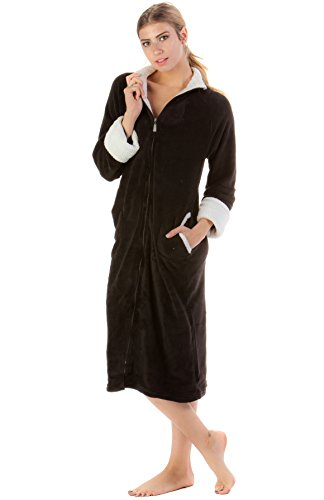 Casual Nights Women's Zip Up Plush Fleece Robe