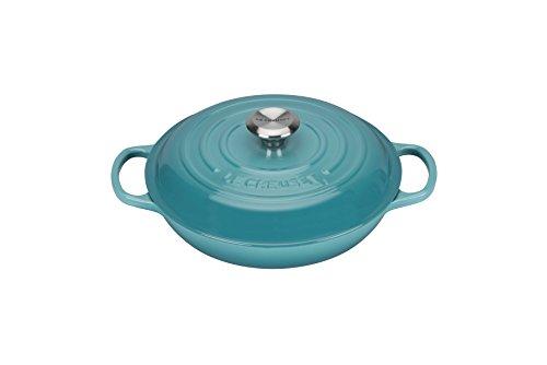 Le Creuset 21180261702430 Signature Cocotte Peu Profond Fonte Bleu Caraïbe 26 cm
