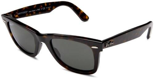 Ray-Ban RB2140 Original Wayfarer Sunglasses 50 mm,Tortoise frame/Crystal Green Polarized lens