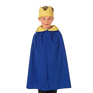 Blue King or Queen cloak Costume for Kids one size 3-9 yrs