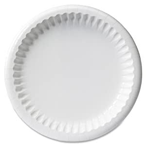 """Mardi Gras Clay Coated Paper Plates, 8 5/8"""", White, 125/Pack"""