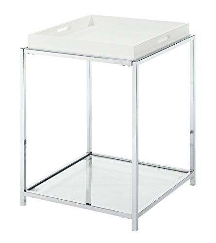 Convenience Concepts Palm Beach End Table, White (Chrome End Table compare prices)