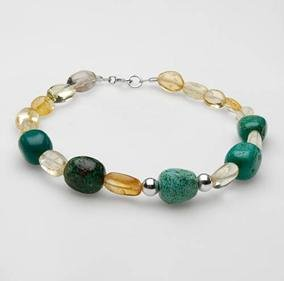 Stylish Brand New Bracelet With 8.40ctw Precious Stones - Genuine Citrines and Turquoises Well Made in 925 Sterling silver
