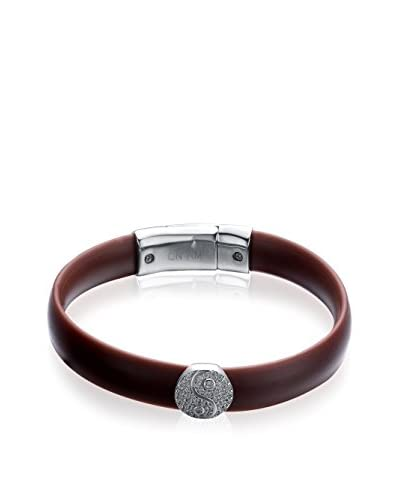 Alberto Moore CZ-Embellished Yin Yang Brown Silicone Bracelet
