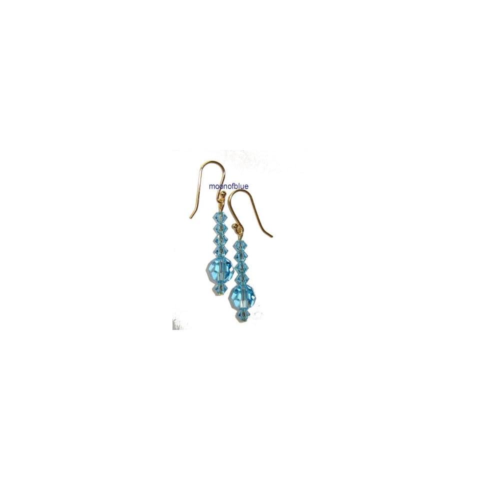 Dangle Swarovski Crystal Blue Earrings   14K Gold Plated