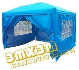 Quictent New 10x10' Blue Ez Pop up Gazebo Party Wedding Tent Canopy with Sidewalls/silver Coated