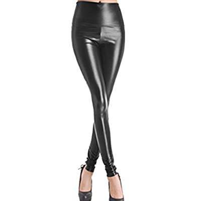 Slim Hot Jeggings Sexy Yoga Pants Leg Warmer Tights Women Faux Leather High Waist Stretch Lady -size L