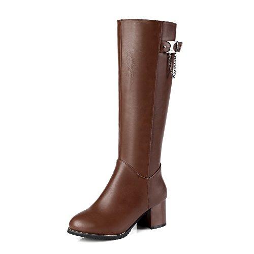 voguezone009-donna-puro-tacco-medio-cerniera-punta-tonda-stivali-con-metallo-marrone-40